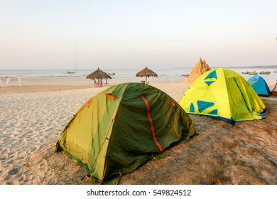 Camping tents on the beach