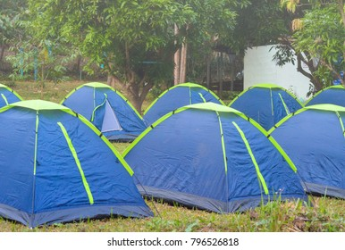 Camping tents outdoor in the winter