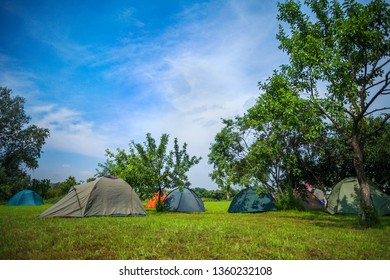 Camping tents for tourism on green grass meadow