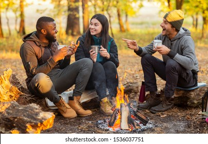 Camping time for mixed race group of friends sitting beside fireplace and frying sausages in autumn forest in sun lights