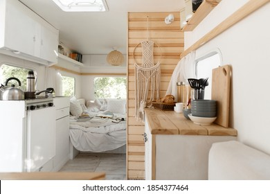Camping in trailer, rv kitchen and bedroom, nobody - Shutterstock ID 1854377464
