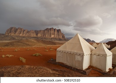 Camping under the clouds in the desert