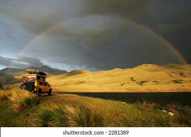 Camping under the rainbow with 4x4 RV van in Montana