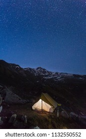 Camping under stars - Himalaya is a state of Mind. Star gazing from Deo Tibba trek,Manali, Himachal pradesh, India. Beautiful landscape and snow scape in cold winter terrain. Astro photo,galaxy, stars