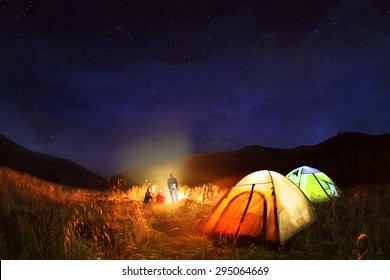 Camping under the stars at night in Carpathian  mountains,Ukraine