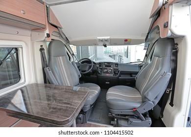 Camping Van Cabin Interior With Rotating Seats