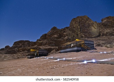 Camping in Wadi Rum under the moonlight