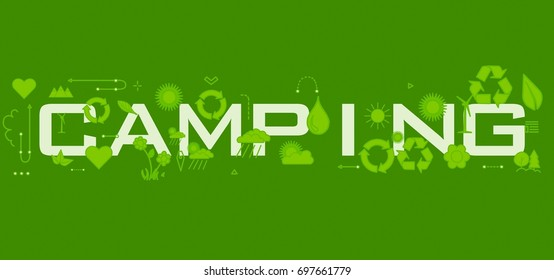 Camping word with icons.