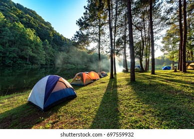 Camping,Adventures Camping and tent under the pine forest near water outdoor in morning and sunset at Pang-ung, pine forest park , Mae Hong Son, North of Thailand, forest background. Concept Travel
