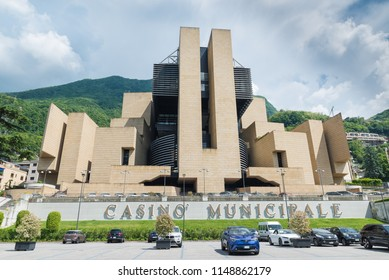 Campione d'Italia, Italy - May 18, 2018: Campione d'Italia on Lake Lugano, famous for its casino, italian town entirely surrounded by the Switzerland (exclave)