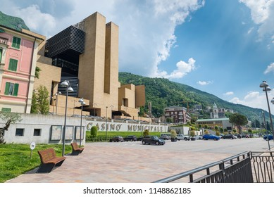 Campione d'Italia, Italy - May 18, 2018: Campione d'Italia on Lake Lugano, famous for its casino, italian town entirely surrounded by the Switzerland (exclave). Lake front area