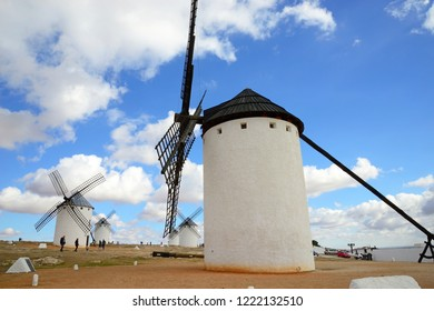 Campo de Criptana, Spain - November 1, 2018: Mills of the population of Campo de Criptana.