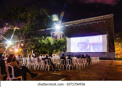 Campo Grande, Brazil - April 14, 2018: Open air film festival at Praca do Radio Clube. Event called Festival Cine Novo Oeste which brings culture and local productions of the independent film industry