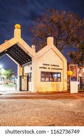 Campo Grande, Brazil - August 21, 2018: Main entrance of the Horto Florestal at night (Parque Florestal Antonio de Albuquerque). Historic park of the city of Campo Grande MS, Brazil.