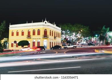 Campo Grande, Brazil - August 21, 2018: Facade of the Morada dos Bais at night (Sesc Morada dos Bais). Historic building, cultural place of the city of Campo Grande MS, Brazil.