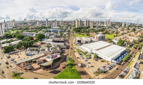 Campo Grande, Brazil - February 19, 2018: Aerial view from the Ceara avenue in Campo Grande city, one of the principals avenues of the city.