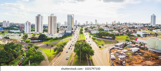 Campo Grande, Brazil - February 22, 2018: Aerial Afonso Pena avenue view, the main avenue of the city. The bridge above Avenida Ceara and the the view in direction to the downtown.