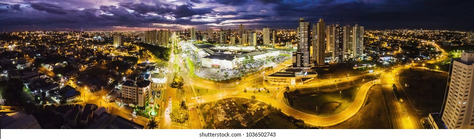 Campo Grande, Brazil - February 24, 2018: Aerial view from Afonso Pena avenue and the Shopping Campo Grande. Panoramic view from Campo Grande MS at night.
