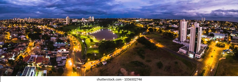 Campo Grande, Brazil - February 24, 2018: Aerial view from Parque das Nacoes Indigenas. Panoramic view from Campo Grande MS at night.