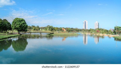 Campo Grande, Brazil - June 26, 2018: Photo at the Parque das Nacoes Indigenas, the biggest park of the city and the monument Guerreiro Guaicuru on the mini island on center.