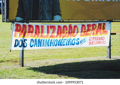 """Campo Grande, Brazil - May 24, 2018: Message of """"Paralizacao Geral dos Caminhoneiros"""" at the stopped trucks protest for the diesel price increase."""