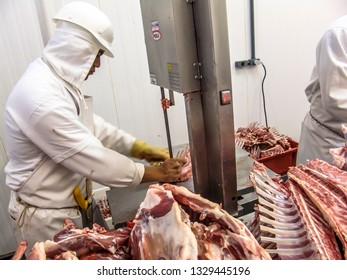 Campo Grande, Mato Grosso, Brazil, September 22, 2006. Sheep meat processing in food industry in Brazil