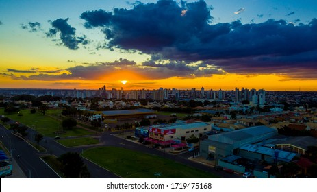 Campo Grande - MS, Mato Grosso do Sul, Brazil - April 30, 2020: Aerial view of the city of Campo Grande on a beautiful day. Sunset in the capital of Mato Grosso do Sul.