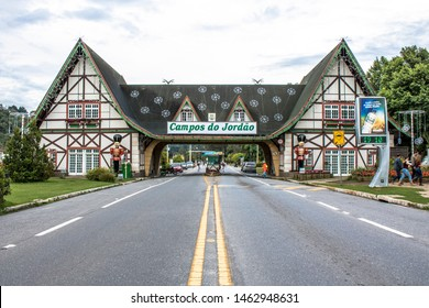 Campos do Jordao, SP, Brazil, December 09, 2016. Swiss architecture welcome in Campos do Jordao. Iconic entrance sign welcomes visitors to Campos de Jordao, Cold Touristic city