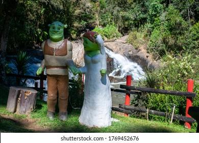 Campos do Jordão, São Paulo, Brazil - May 26, 2020: Statues of Shrek and Fiona