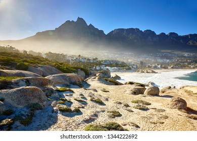 Camps bay, Cape town with table mountain and twelve Apostles in the Background.
