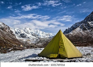Campsite below the mighty Kanchenjunga during Goechala trek