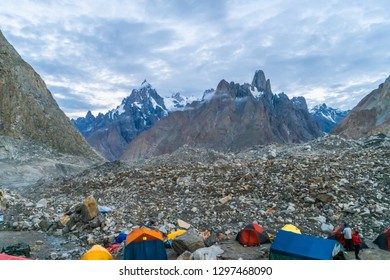 Campsite on Baltoro Glacier with view of majestic trango Towers in Karakoram Mountain Range, Pakistan