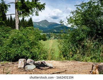 Campsite view in the mountains of Austria