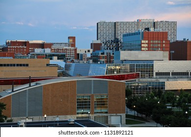 The campus of Ohio State University in Columbus, Ohio is a mix of old and new buildings.  This is the view looking south.