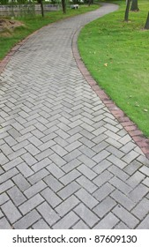 Campus trails covered with brick