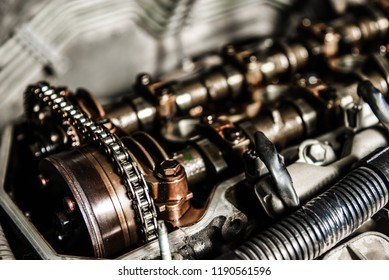 camshafts and a chain