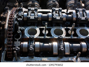 camshafts and chain on disassembled engine