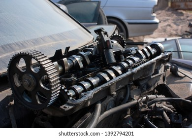 camshafts removed from the engine