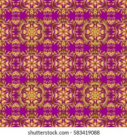 Can be used for digital paper, textile print, page fill. Seamless pattern in Christmas traditional colors. Abstract purple background with golden geometric ornament.