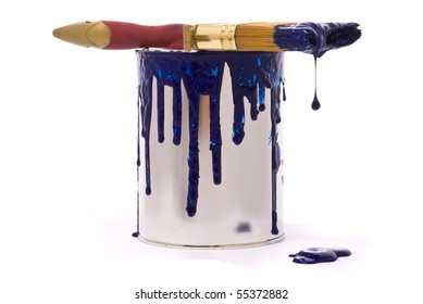 Can of blue paint and professional brush on a white