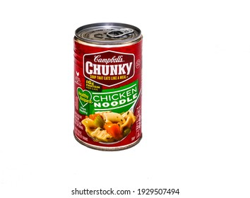 A Can of Campbell's Chunky Chicken Noodle Soup on White for Illustrative Editorial