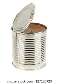 can of caramelized condensed milk on white background