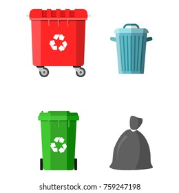 Can container, bag and bucket for garbage. Recycling and utilization equipment. Waste management. illustration in flat style Raster version