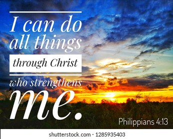 I can do all things through Christ who strengthens me with sunset background design for Christianity.