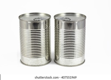 Can of food, metallic tin isolated in a white background