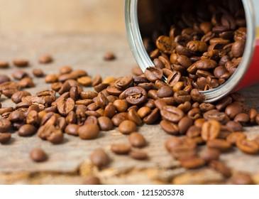 Can full of fair trade coffee beans