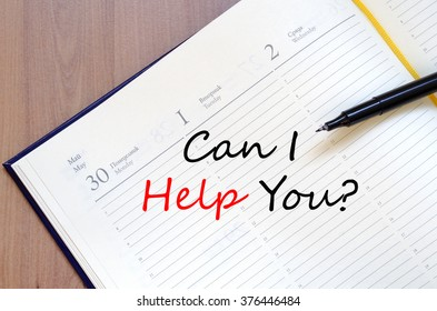 Can i help you text concept write on notebook