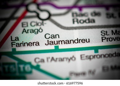 Can Jaumandreu Station. Barcelona Metro map.