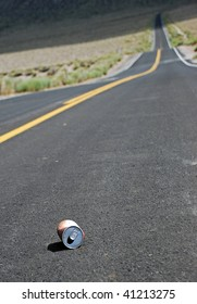 can on a road
