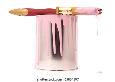 Can of pink paint and professional brush on a white